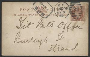 GB 1889 ½d postcard used in London - boxed Newspaper Branch datestamp......51171