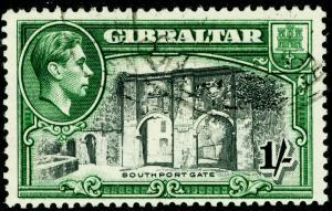 GIBRALTAR SG127b, 1s black & green, FINE USED.