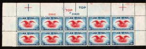 # C23, MNH,1938, PLATE BLOCK OF 10, TOP, EAGLE