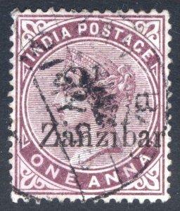 Zanzibar 1896 2 1/2 on 1a Plum SG 25 Scott 20 VFU Cat £110($144)