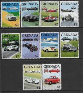GRENADA,1615 A-J, MNH,  MINI SHEETS, CLASSIC AUTOMOBILES OF  1988