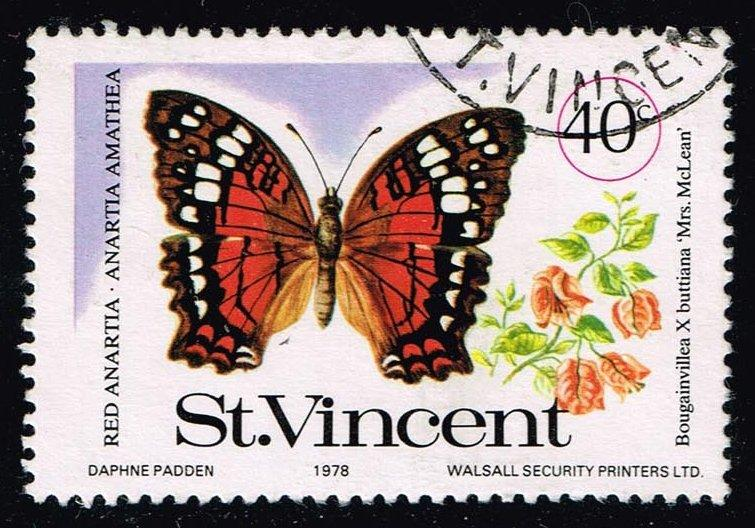 St. Vincent #525 Red Anartia Butterfly; Used (0.25)