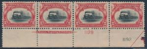 #295 PLATE #s STRIP OF 4 WITH IMPRINT XF OG LH BS7848
