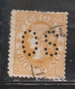 VICTORIA Scott # 198 Used - Queen Victoria With OS Perfin