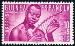 SPANISH GUINEA 1953 Mi.287 10+5c red-lilac Musician - Welfare Issue - Mint*-