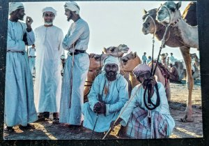 """UNIQUE & INTERESTING OMAN 1992 """"CAMEL RIDERS"""" POST CARD TO USA HARD TO FIND"""