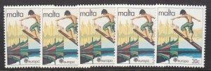MALTA ^^^^^sc# 585  x5  MNH   < EUROPA/ Surfing  >   @dca916malta