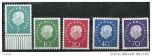 Germany 1959 Sc 793-7 MI 302-6 MNH Pres. Theodor Heus CV 22 euro