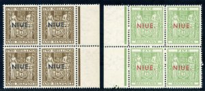 Niue 1957-67 Arms 2s6d & 5s blocks of four (Line Perf) superb MNH. SG 87, 88.