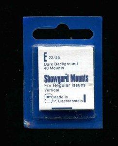 Showgard Black Stamp Mounts E 22/25 PreCut  (40 count)