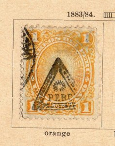 Peru 1883-84 Early Issue Fine Used 1c. Optd NW-11822