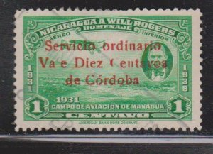 NICARAGUA Scott # 686 Used - Unlisted Overprint Error - Missing l in Vale
