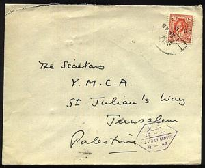 JORDAN 1943 censor cover Amman to Jerusalem Palestine - Censor B-43........22834