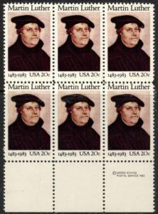 US Stamp #2065 MNH Martin Luther MI Block / 6