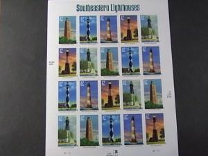 U.S.# 3787-3791(3791a)-MINT/NH-- PANE OF 20-SOUTHEASTERN--LIGHTHOUSES--2003