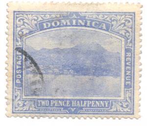 Dominica Sc 53 1908 2 1/2 d Roseau stamp used