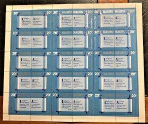 STAMP STATION PERTH  Nauru #218a Christmas Sheet of 15 Pairs  MNH