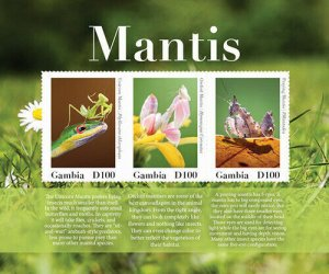 2020/08- GAMBIA - INSECTS MANTIS       3V complet set    MNH ** T