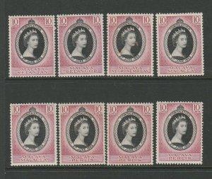 Malaya states. 8 1953 Coronations, UM/MNH, duplication, see scan