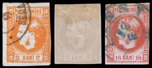 Romania Scott 33-34, 36 (1868-70) Used H F-VF,  CV $110.00 B