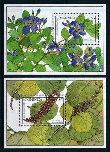 [105775] Dominica 1988 Flora blossom flowers trees 2 Souv. Sheets MNH