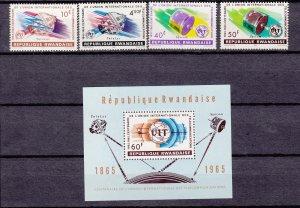 J27275, 1965 rwanda set + s/s mnh #109-13 ITU