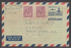 *Korea Aerogramme Cover H&G #2, SC #255x2 To Florida, USA / CV 250,000 Won