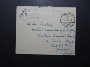 Egypt 1942 Stampless Censored Cover to South Africa  - Z10563