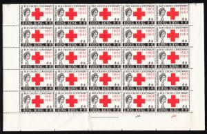 HONG KONG — SCOTT 219 (SG 212) — 1963 10¢ RED CROSS — BLK/25 — MNH — SCV $112.50