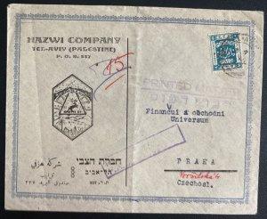 1925 Tel Aviv Palestine Commercial Cover To Prague Czechoslovakia