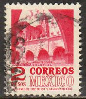 MEXICO 1096, $2P 1950 Defin 9th Issue Unwmkd Fosfo Glazed. USED. F-VF. (1450)