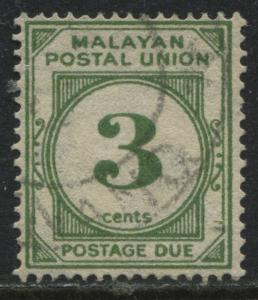 Malaya States 1952 3 cents green Postage Due used