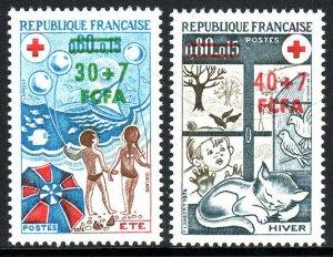 Reunion B46-B47, MNH. Red Cross. Children on beach,balloons;Child,cat,birds,1974