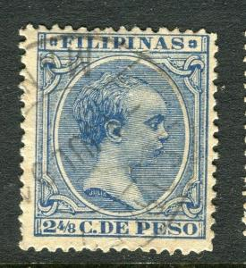 PHILIPPINES;  1890 classic Baby King Alfonso issue used 2 4/8c. value, Postmark