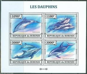BURUNDI  2013 DOLPHINS SHEET  MINT NH