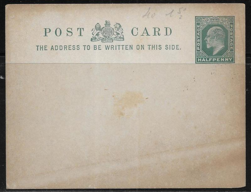 Great Britain Postal Stationery Postcard H&G 29a Mint