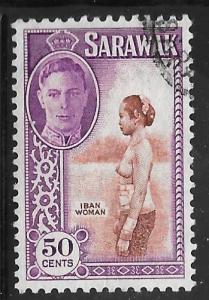 Sarawak 191: 50c Iban woman, used, F-VF