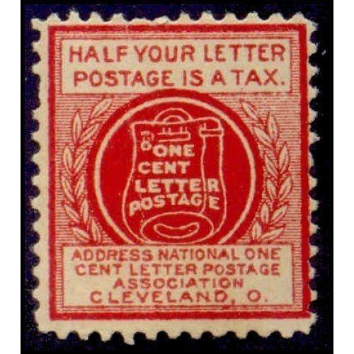 US - National One Cent Letter Postage Association Stamp - Type IV (#2)
