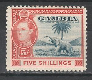 GAMBIA 1938 KGVI ELEPHANT 5/-