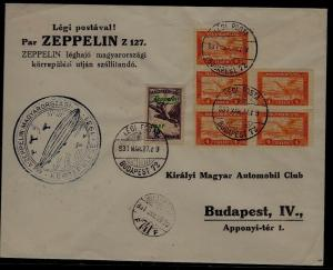 Hungary Zeppelin cover 27.3.31 , crease