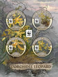 TOGO 2016 SHEET WWF LEOPARD ORCHIDS ORCHIDEES FLOWERS FLEURS WILDLIFE tg16423a