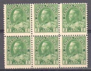 Canada #107e Mint NH  Block of 6 -- Admiral Green Shade -- Dry Printing C$180.00