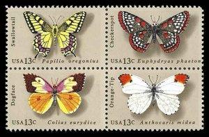 PCBstamps       US #1712/1715a Block 52c(4x13c)Butterflies, MNH, (17)