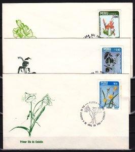 Peru, Scott cat. 817, 852, 881. Flower values. 3 First day covers. ^