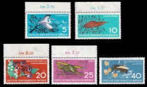 Germany DDR 1959 Sc 434-38 MNH, MLH Nature Conservation sm flaws