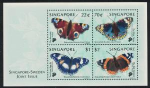 Singapore Butterflies MS Joint Issue with Sweden SG#MS1003