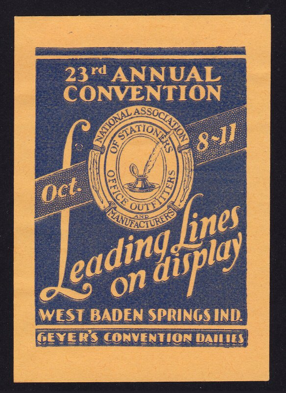 POSTER STAMP 23RD ANNUAL CONVENTION NATIONAL ASSOCIATION OF STATIONERS