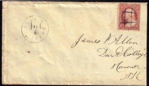 US Scott #26 Postal History Cover Orange Brown Variety Jul 6,1861 Cat.$950.00