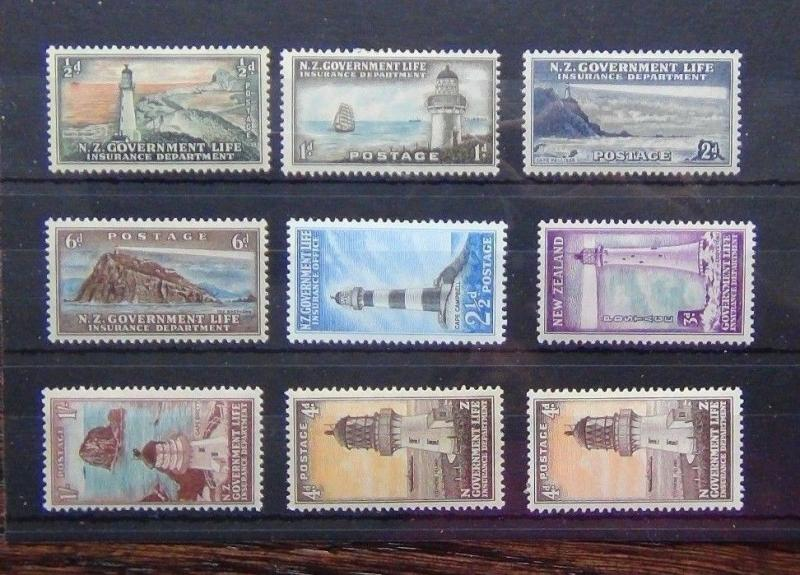 New Zealand 1945 - 65 Life Assurance set complete to 1s + SGl47a LMM