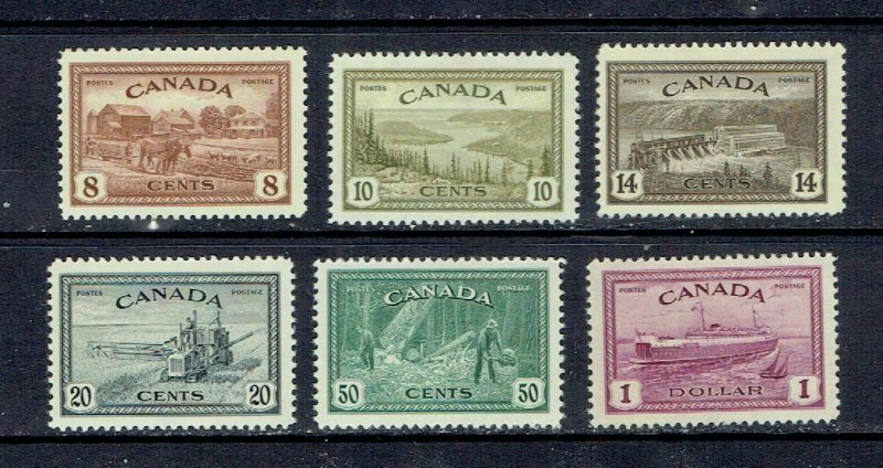 CANADA - 1946 - KING GEORGE VI PEACE ISSUE - SCOTT 268 TO 273 - MNH